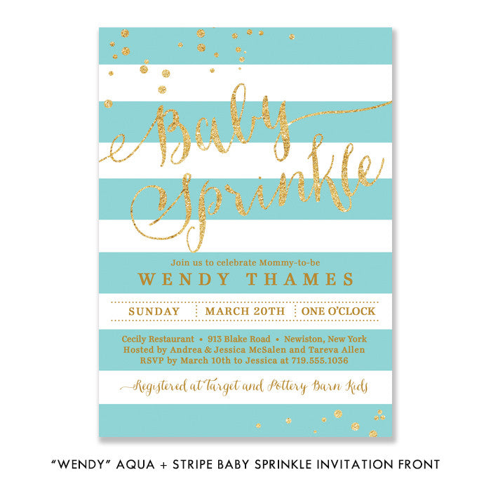 """Wendy"" Aqua Stripe Baby Sprinkle Invitation"