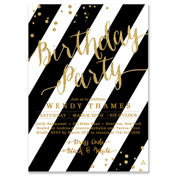 Wendy Black Stripe Gold Birthday Party Invitation