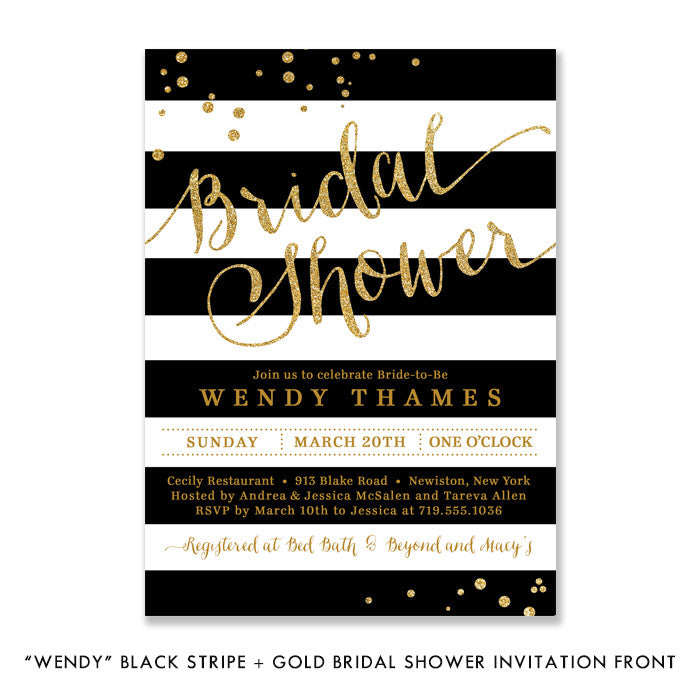 """Wendy"" Black Stripe + Gold Bridal Shower Invitation"