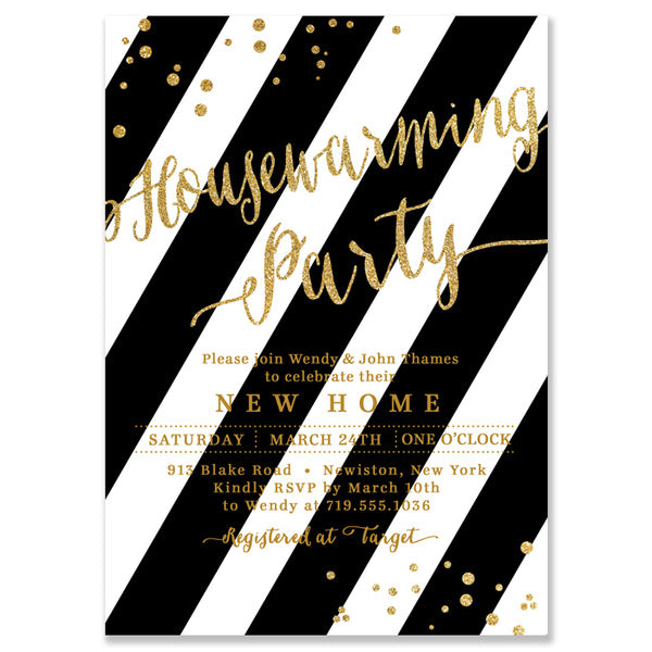 """Wendy"" Black Stripe + Gold Housewarming Party Invitation"