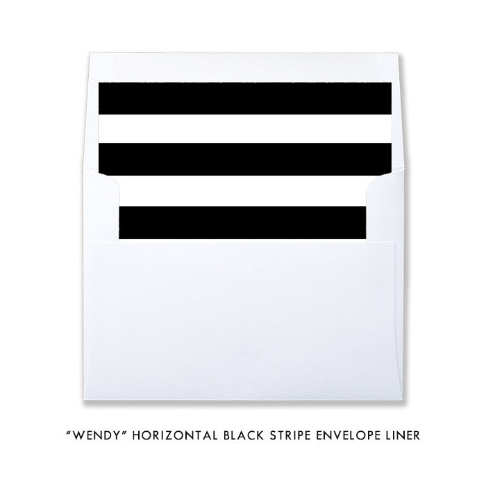 """Wendy"" Black Stripe Twin Baby Shower Invitation"