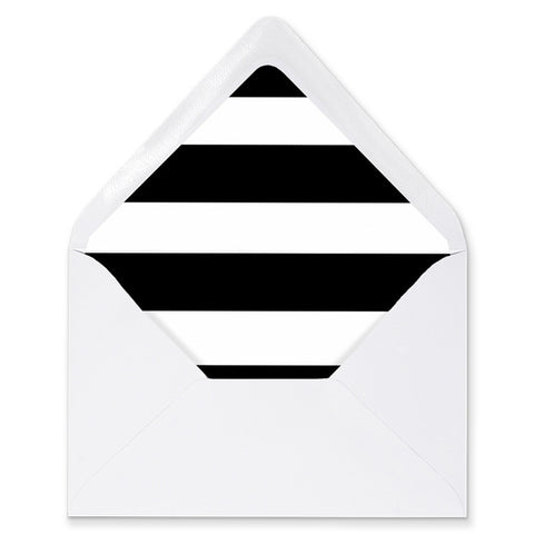 """Wendy"" Black & White Horizontal Stripe Envelope Liners"