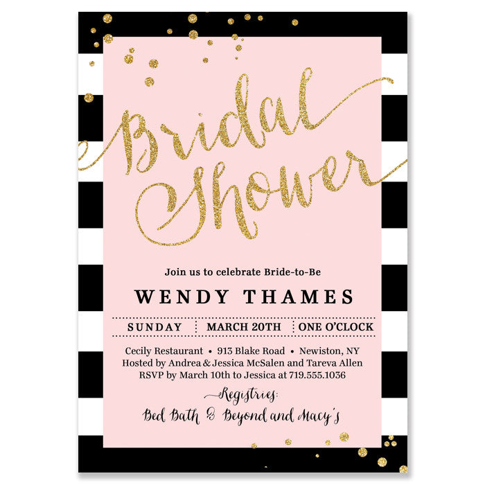 """Wendy"" Blush Pink + Stripe Bridal Shower Invitation"