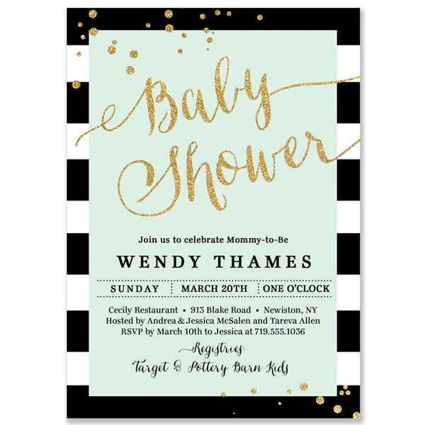 """Wendy"" Mint + Stripe Baby Shower Invitation"