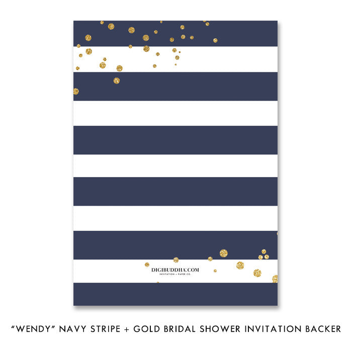 """Wendy"" Navy Stripe + Gold Bridal Shower Invitation"