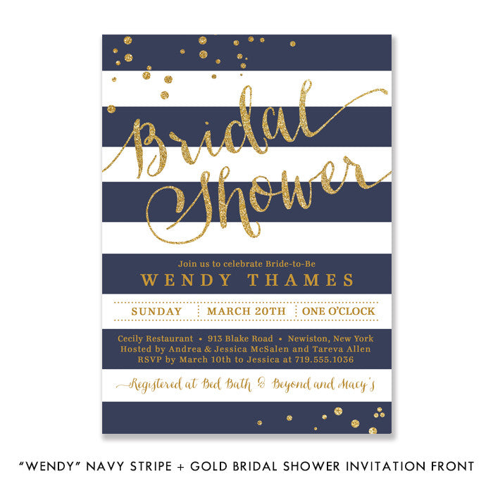 Navy Stripe Bridal Shower Invitation