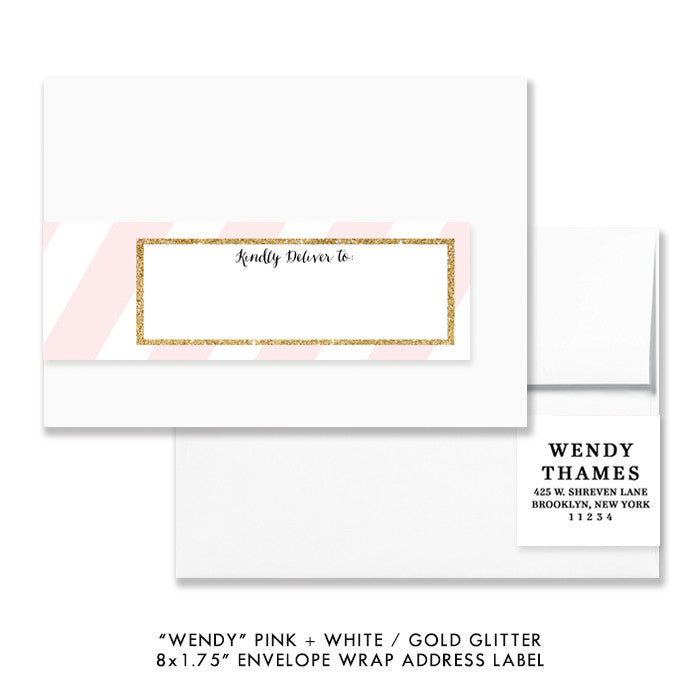 "Pink stripe + gold glitter ""Wendy"" envelope wrap address label 