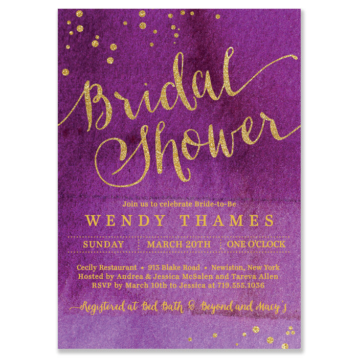 Watercolor Ombre Bridal Shower Invitation