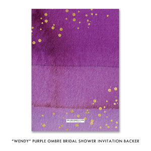 """Wendy"" Purple Ombre Bridal Shower Invitation"