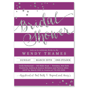 """Wendy"" Purple Stripe + Silver Bridal Shower Invitation"