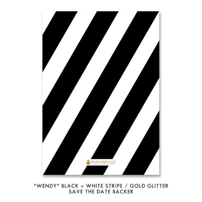 "Black + white stripes with gold glitter sprinkles ""Wendy"" Save the Date backer 