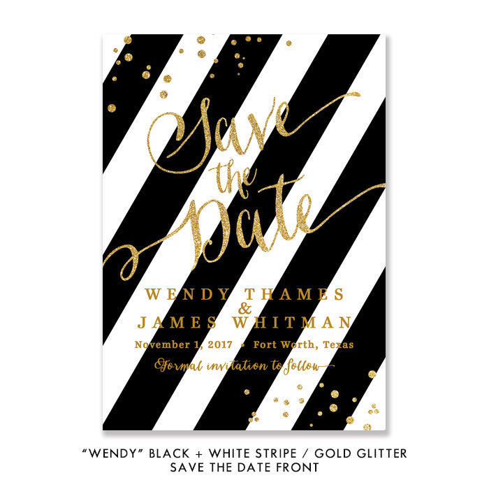 "Black + white stripes with gold glitter confetti ""Wendy"" Save the Date 