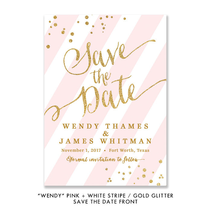 "Pink stripe + gold glitter confetti sprinkles ""Wendy"" Save the Date card 