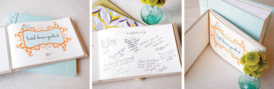 our bridal shower book is a great way to record all the events at a bridal shower in one beautiful keepsake each book contains a page for a special message