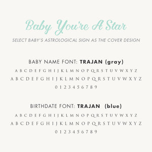 Personalized Baby's First Book Zodiac Stars (Blue)