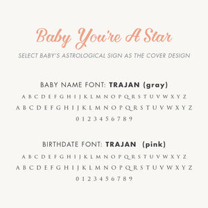 Personalized Baby's First Book Zodiac Stars (Pink)