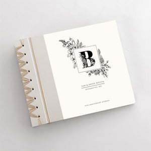 Personalized Anniversary Journal Black Frame Monogram