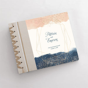 Personalized Anniversary Journal Peach & Navy