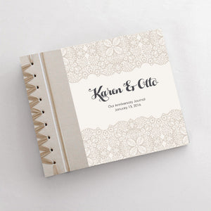 Personalized Anniversary Journal Pearl Lace