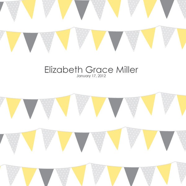 Personalized Baby's First Book Yellow Bunting