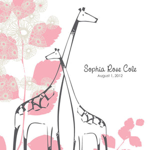 Personalized Baby's First Book Pink Giraffe