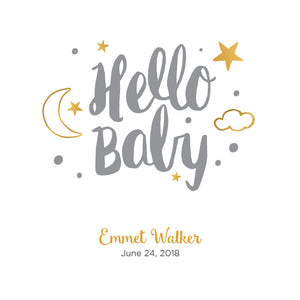 Personalized Baby's First Book Hello Baby Gray
