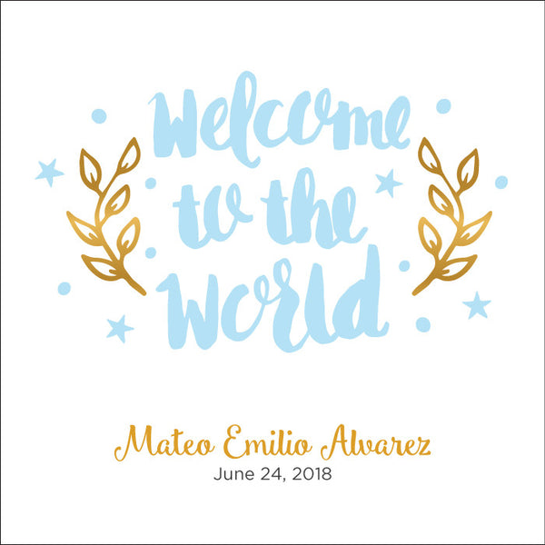 Personalized Baby's First Book Welcome Blue