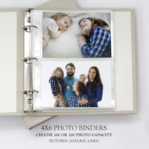Photo Binder (for 4 x 6 photos) with Pewter Linen
