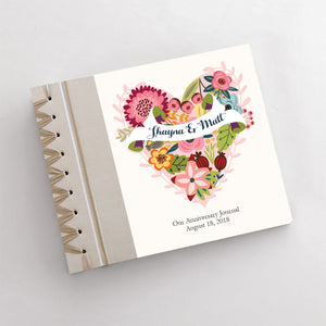 Personalized Anniversary Journal Floral Heart