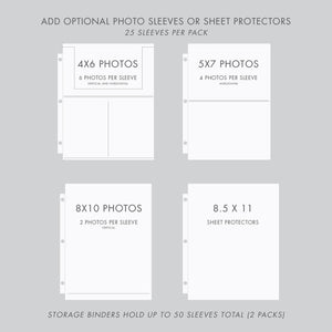 Storage Binder for Photos or Documents with Pewter Linen Cover Option