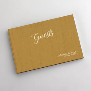 "Guestbook Jasmine Silk Cover with Embossed ""Guests"""