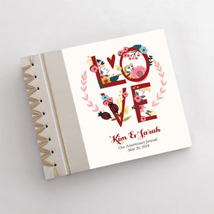 Personalized Anniversary Journal Love Wreath