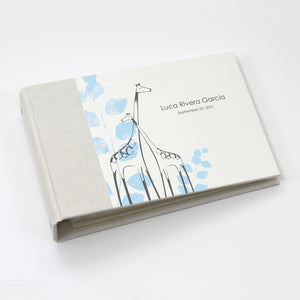 Personalized Brag Book Mini Binder - Blue Giraffe