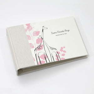 Personalized Brag Book Mini Binder - Pink Giraffe