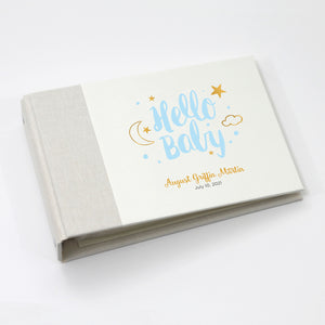 Personalized Brag Book Mini Binder - Hello Baby Blue