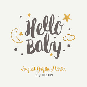 Personalized Brag Book Mini Binder - Hello Baby Gray