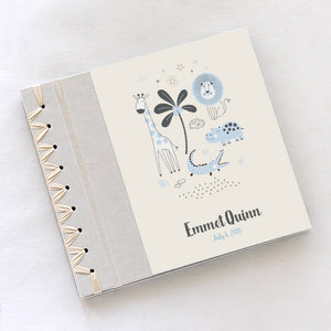 Personalized Baby's First Book Safari Blue