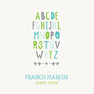 Personalized School Years Alphabet {Green Blue}