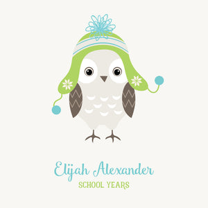 Personalized School Years Hoot {Green Blue}
