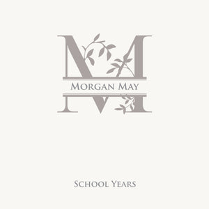 Personalized School Years Monogram Gray Leaf