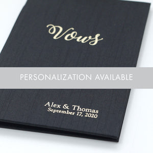 Wedding Vows Book (Set of 2) Navy Silk