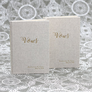 Wedding Vows Book (Set of 2) Natural Linen