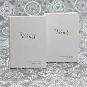 Wedding Vows Book (Set of 2) Champagne Silk
