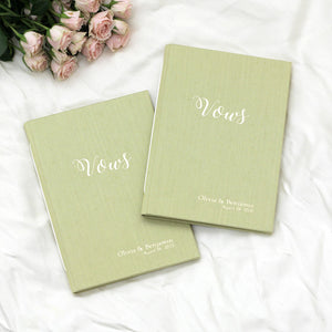 Wedding Vows Book (Set of 2) Lemongrass Silk