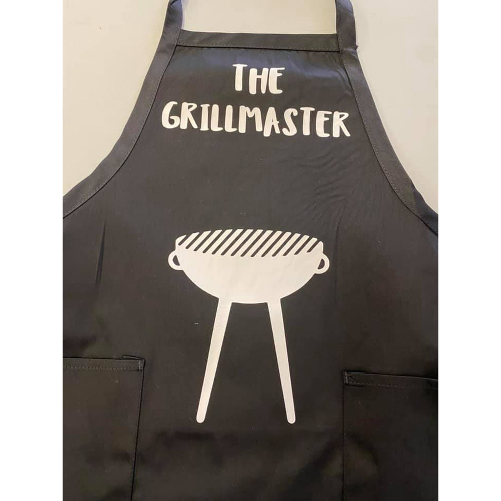 the grillmaster black apron with white grill