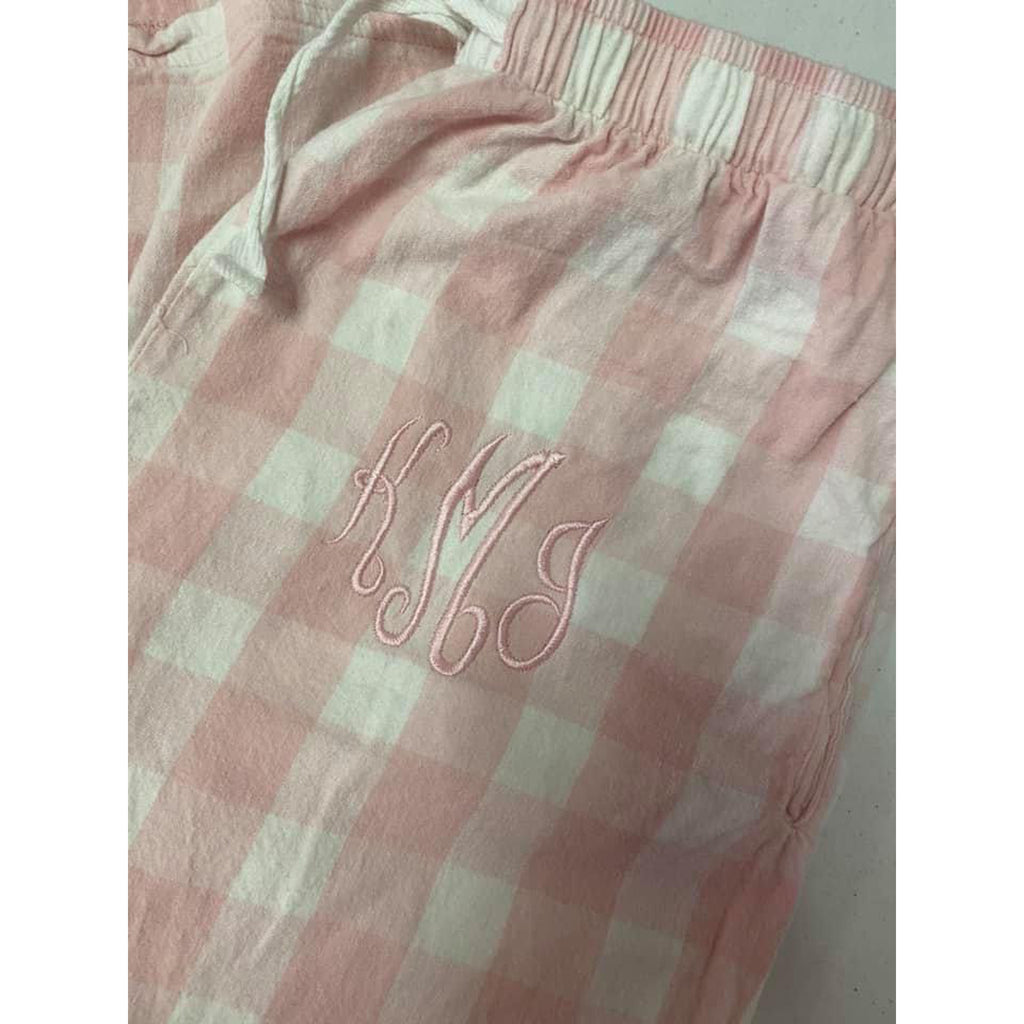 embroidered pajama pants for women, pink and white buffalo plaid