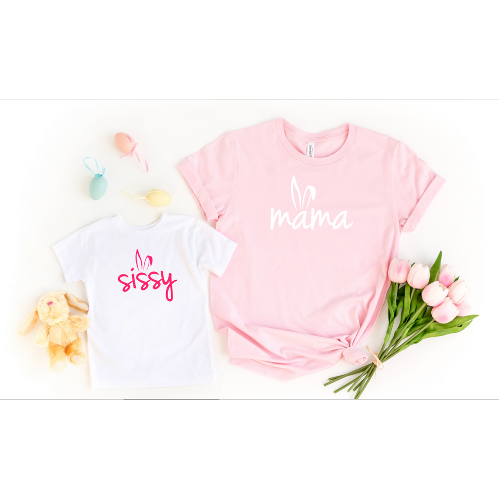 mama and sissy bunny ear spring matching easter shirts