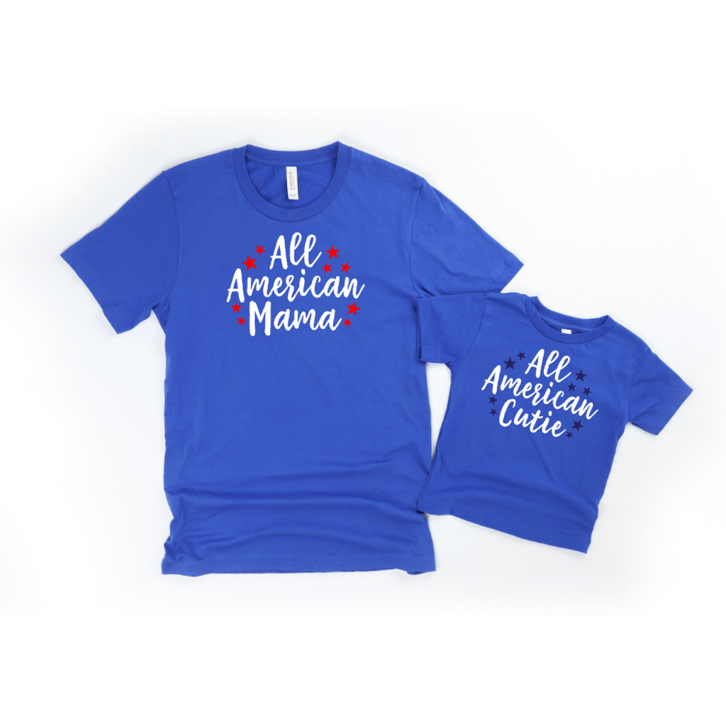 all american july 4th shirts blue with white text and red stars