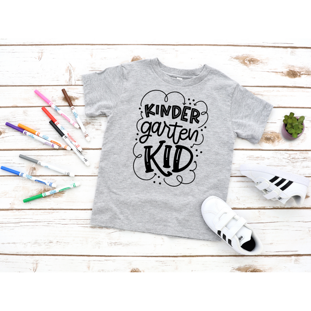 kindergarten kid back to school shirt grey shirt black text