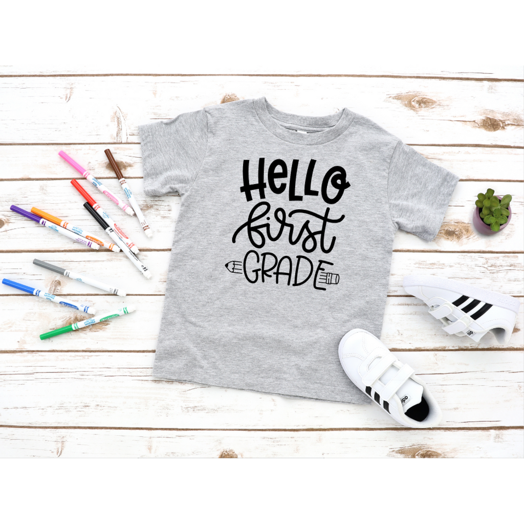 hello first grade back to school grey shirt with black text